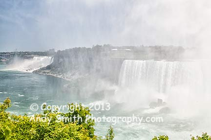 Looking downstream on the Niagara river with all falls in View