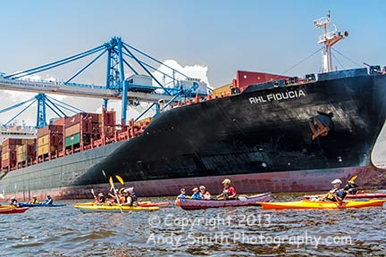 Paddling near the Port of Philadelphia