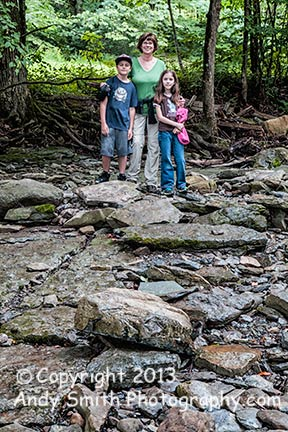 Kim, Colby and Cailyn in a dry creek